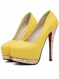 European Star Favorite Style Round Toe Color Block Thin Heel Platform Pumps