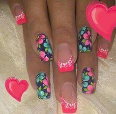 Pedicure Nail Designs, Flower Nail Designs, Flower Nail Art, Pedicure Nails, Acrylic Nail Designs, Nail Art Designs, Acrylic Nails, Spring Nail Art, Spring Nails
