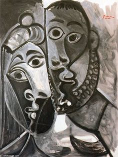A Couple 1, Oil by Pablo Picasso (1881-1973, Spain) ❌ART : PABLO PICASSO ( 1881 - 1973 ) SPANISH PAINTER AND SCULPTOR / CUBISM : More At FOSTERGINGER At Pinterest ❇️✳️⭕️