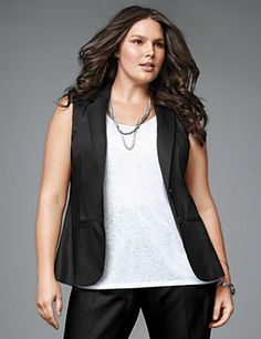Crisply tailored for flattering structure, you'll always look pulled together in our double weave stretch vest. A work-day classic with fashion cred to last all week, this wardrobe staple features notched lapels, welt pockets and a vented back. #LaneBryant
