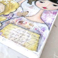 Putting dresses on my girls! Mixed media art - Shabby art by Toni Burt.
