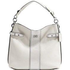 Coach Colette Pebble Leather Stripe Hobo Handbag Chalk White