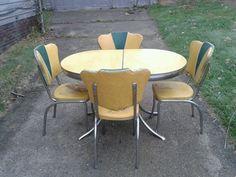 Vintage Retro 1950u0027s Dinette Set With Yellow Cracked Ice Laminate Top  #MidCenturyModern