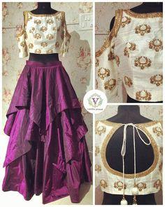 Saravana Street T. Choli Designs, Lehenga Designs, Blouse Designs, Indian Attire, Indian Ethnic Wear, Indian Dresses, Indian Outfits, Lehnga Dress, Sari Blouse