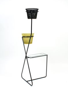 Mathieu Matégot; Enameled Metal and Glass Side Table with Integrated Planters, c1955.