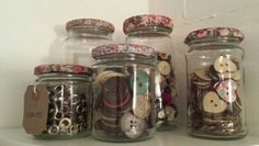 Jars are prefect storage. Covered lids in adhesive fabric.