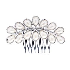 ACCESSORIESFOREVER Women Bridal Wedding Jewelry Crystal Rhinestone Teardrop Pearl Linear Hair Comb Pin *** Want to know more, click on the image. (This is an Amazon affiliate link)