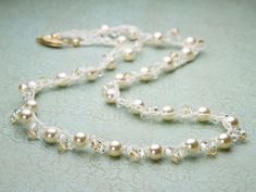 Crocheted Rosalie necklace with bicones and pearls. Not just for brides!