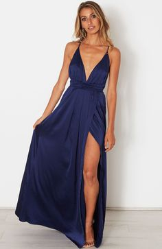 Description - Satin Look Maxi Dress - Halter Neck Straps that Wrap Around Waist
