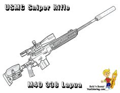 Marine Corps M40 338 Sniper Rifle Coloring Page