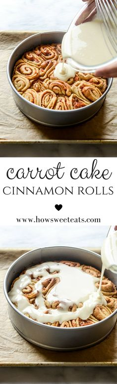 Carrot Cake Cinnamon Rolls with Mascarpone Icing by @howsweeteats I howsweeteats.com