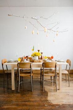 Painted branch chandelier with veneer wrapped candle holders, prop styling by Honeycomb Collective  Scandi Simple inspiration shoot for Hearten Magazine, Art Directed by Jeff Loves Jessica Photography