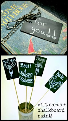 Credit/gift card repurposing - add a little chalkboard paint and create re-usable tags! #upcycle #plasticcards #giftcards