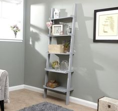 Home Source - 5 Shelf Ladder Bookcase Grey Decorative Ornament Stand Modern Wooden Ladder Shelving Unit, Kitchen Shelving Units, Ladder Shelf Decor, Bookcase Storage, Ladder Bookcase, Wall Bookshelves, Storage Units, Office Storage, Modern