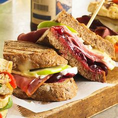 Apple, Ham & Brie Panini - Tart green apples and savory cranberry sauce add a fruity twist to traditional ham sandwiches. Heat them in a grill pan, skillet, or panini press for a toasted version
