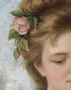 """ollebosse: """"T. Mazzoni, Girl With Roses (Detail) Oil on canvas, """""""