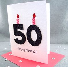 Handmade 50th Birthday Card - Milestone Birthday. $4.95, via Etsy.