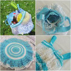 Skladacia háčkovaná eko sieťovka s okrúhlym dnom, fotopostup Crochet Bags, Purses And Bags, Baskets, Hats, Crochet Purses, Hat, Crochet Clutch Bags, Hampers, Basket