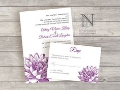 Water Lily Flower Wedding Invitations with rsvp cards by nellybean, $3.75