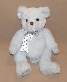 "Bearington Blue Teddy Bear Brown Polka Dot Bow Plush Stuffed Baby Toy Boys 10"" #BearingtonBaby"