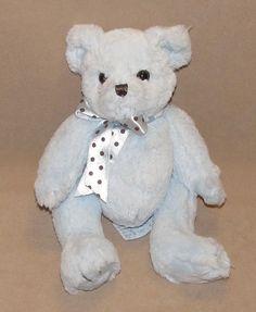 """10"""" Bearington Blue Teddy Bear Brown Polka Dot Bow Plush Stuffed Toy Boys Baby #Bearington"""