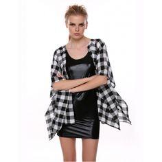 Stylish Ladies Women Casual Open Stitch Plaid Loose Cape Kimono Jacket | cndirect.com