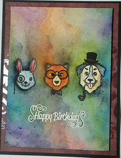 Contagiously Crafty - Hero Arts Hipster Animals Watercolor Card