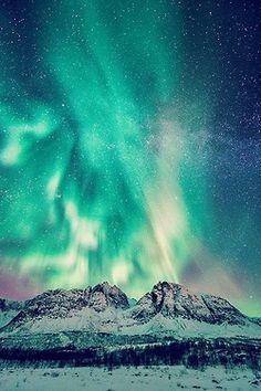 landscape norway milky way aurora borealis mposts