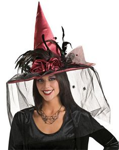 feather witch hat plumage roses and black mesh veil - Spider Witch Halloween Costume