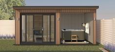 The Atrox offers ultimate flexibility and exquisiteness, giving Garden Rooms a balance of indoor and private outdoor space. Hot Tub Pergola, Hot Tub Backyard, Backyard Sheds, Garden Bar Shed, Hot Tub Garden, Summer Sheds, Hot Tub Bar, Garden Log Cabins, Contemporary Garden Rooms