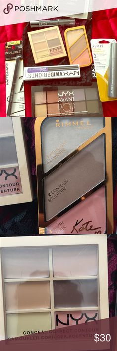 Assorted makeup bundle New NYX makeup lace bag bundle comes with NYX Avant POP shadow palette, NYX Conceal Correct and Contour #Light 3CP01, NYX Vivid brights eyeliner #VBL 02 Vivid Violet, NYX Black Lip Top Coat, RIMMEL LONDON Highlight Contour and Blush Kate collection  ALMAY mascara #033 Midnight, LOREAL Brow Stylist #386 Light to Medium and LOREAL INFALLIBLE Eye Liner #512 Ultra Black NYX Makeup