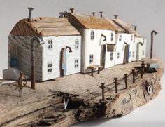 Kirsty Elson on Driftwood Sculpture, Driftwood Art, Scrap Wood Crafts, Small Wooden House, Driftwood Projects, Glitter Houses, Timber House, Wooden Art, Miniature Houses