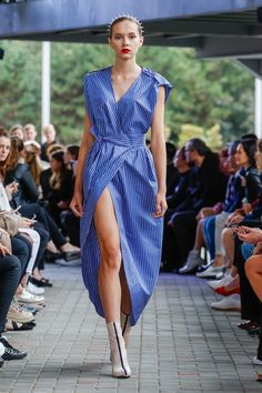 IMRECZEOVA SS18 striped wrap dress Wrap Dress, Runway, 60 Degrees, Dresses, Style, Fashion, Cat Walk, Vestidos, Swag