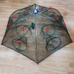 Renforcé 4-16 Trous Automatique De Pêche Filet à Crevettes Cage En Nylon Pliable Crab Fish Trap Cast Net Fonte Pliage De Pêche réseau