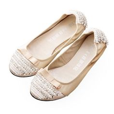 Handmade Ivory Lambskin Leather Wedding Bridal Ballet Flats Shoes SKU-1090715