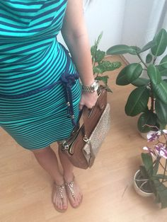 Striped,blue,green,hot,summer,dress,leather,bag.
