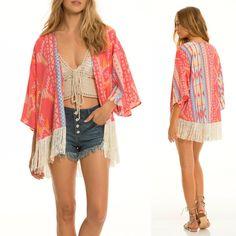 0b8e225e367a4 ELAN Boho Santa Fe Pink Coral Kimono Cardigan Fringe Trim Tribal Aztec Print  $48 #Elan