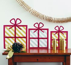 Holiday Gift Wall Art with Washi Tape