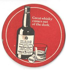 Haig Vintage Beer mat Beer Mats, Beer Company, Beer Coasters, Vintage Type, Gold Labels, Scotch Whisky, Brewery, Trays, Vintage Designs