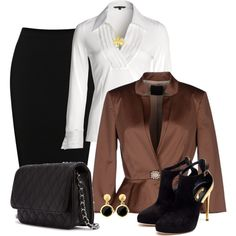 Skirt Outfit - Black & Brown Contest, created by mozeemo on Polyvore