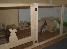 Awesome indoor rabbit cage; may even work outside. Our bunnie was very easy to house train to a litter box. See the Pinterest board: Indoor rabbit cages.