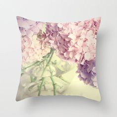 Flower Pillow Cover - Pastel Hydrangea Flowers - Photography print - 16x16 inch - Throw Pillow. $40.00, via Etsy.