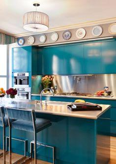 Cozinhas Coloridas Com Azul Retrô