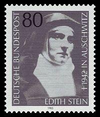 Edith Stein, llamada Santa Teresa Benedicta de la Cruz O.C.D. (Breslavia, Alemania —hoy Polonia— 12 de octubre de 1891 - Auschwitz, 9 de agosto de 1942), filósofa, mística, religiosa carmelita, mártir y santa alemana de origen judío. Es copatrona de Europa.