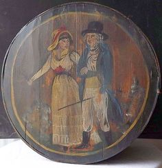 Antique German Pennsylvania decorated banded wooden round brides box.