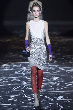 Missoni. Leggings as layering pieces were HUGE in Milan. See all the fashion week runways with the trend.