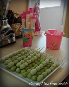 Frozen grape wands for princess themed party