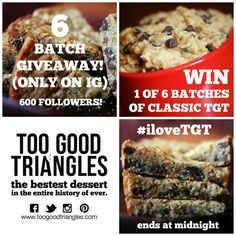 The 6 Batch Giveaway on Instagram ends at midnight! Enter here: http://www.instagram.com/toogoodtriangles #dessert #classic #vegan #glutenfree
