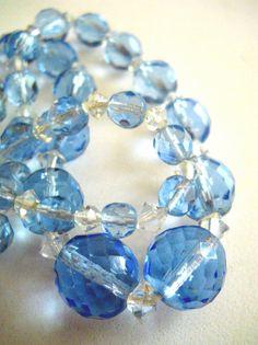 Vintage Czech Necklace Faceted Blue Glass Old by RenaissanceFair, $46.00