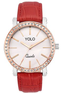 YOLO Women's Silver Dial Analog Wrist Watch with Red Strap Is A Unique And Innovative Product In The Wrist Watches Market. This Amazing, Stylish Fashion Watch Has Arrived To Complement Your Look And Attitude.